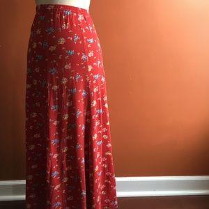 db14c1ac81 Laura Ashley Skirts - LAURA ASHLEY Vintage Red Floral Maxi Skirt S